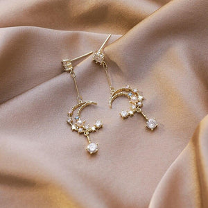 Crystal Crescent Moon Drop Earrings