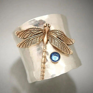 Gold Crystal Dragonfly Ring