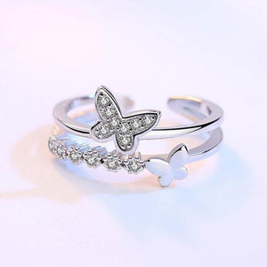 Layered Crystal Butterfly Ring