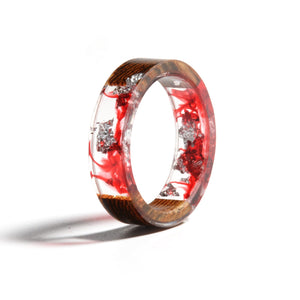 Red & Silver Flower Wood Ring