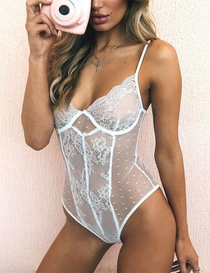 Lace See Through Nightwear Bodysuit