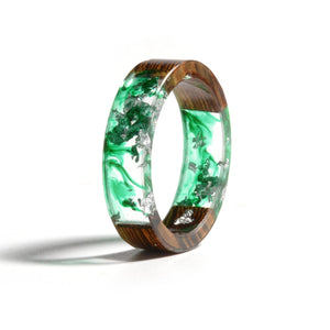 Green & Silver Wood Flower Ring