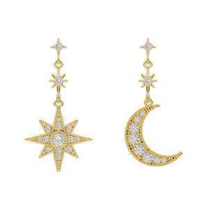 Crystal Moon & Star Earrings