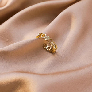 Gold & Crystal Honeycomb Ring