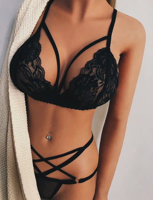 Strappy Hollow Out Lace Bra & Panty Set