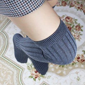 Knitted Cotton Over Knee Socks Stockings