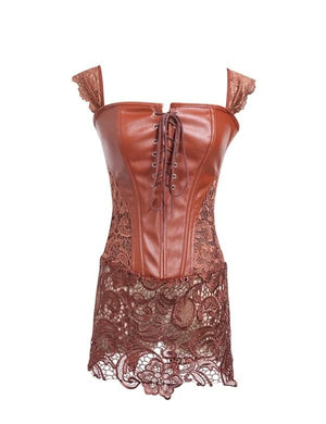 Lace Faux Leather Criss Cross Corset