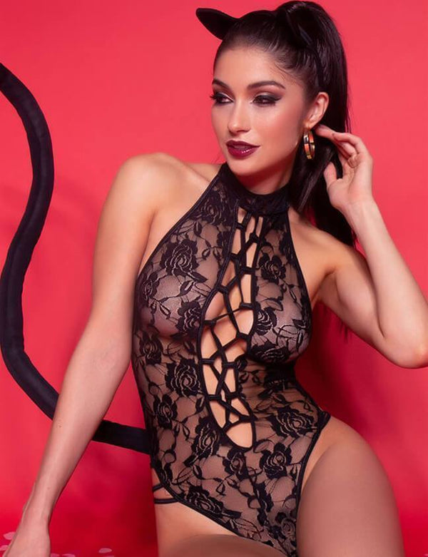 Halter Lace Criss Cross Teddy