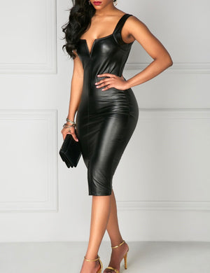 Leather Split Pencil Dress