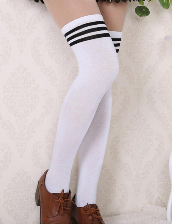 Stripe Thigh Stockings Knee High Socks