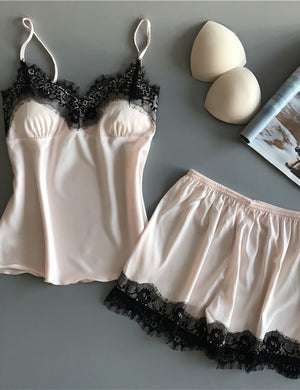 Lace Satin Cami Top & Shorts Sleepwear Set