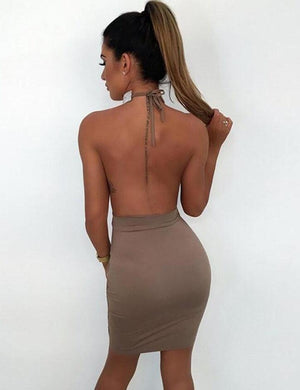 Sequins Chocker Cutout Side Hollow Bodycon Dress