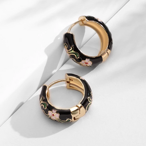 Gold Hoop Flower Earrings