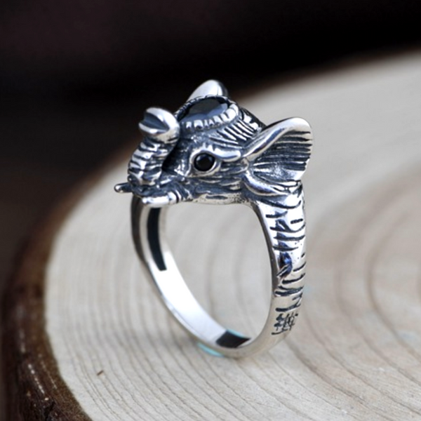 Balmora Sterling Silver Elephant Ring