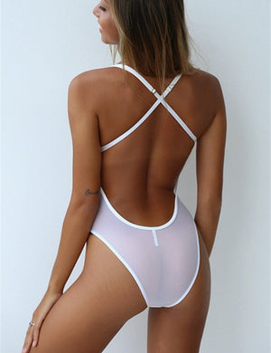 V Neck Hollow Out Back Cross Bodysuit