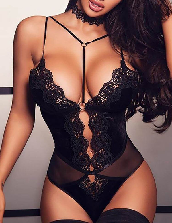 Scalloped Trim Lace See Through Teddy