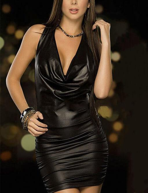 Halter Backless Faux Leather Bandage Dress