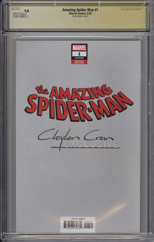 Amazing Spider-Man #1 CGC SS 9.8 Clayton Crain Virgin Variant - Miles Morales Remarked with Blue Sig