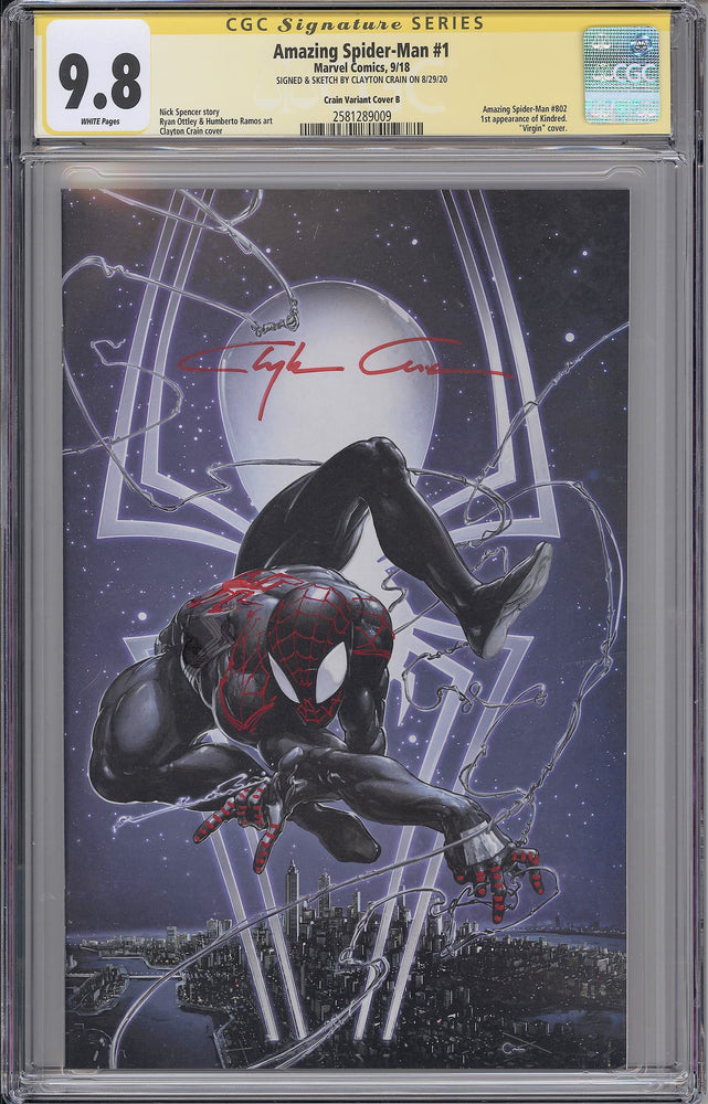 Amazing Spider-Man #1 CGC SS 9.8 Clayton Crain Virgin Variant - Miles Morales Remarked with Red Sig
