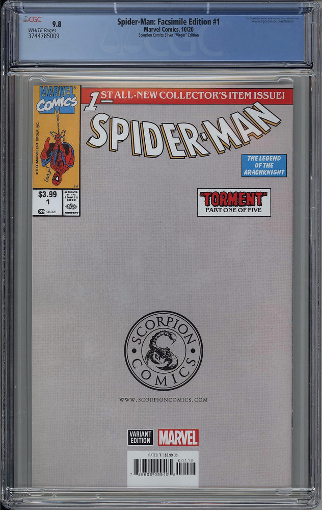 Load image into Gallery viewer, Spider-Man #1 Silver Torment Facsimile CGC 9.8 Clayton Crain Virgin Variant