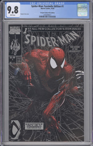 Load image into Gallery viewer, Spider-Man #1 Silver Torment Facsimile CGC 9.8 Clayton Crain Trade Variant