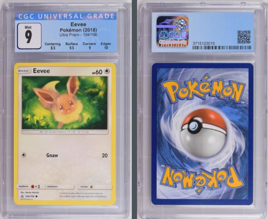 Load image into Gallery viewer, Pokémon Eevee #104 Sun & Moon Ultra Prism 2018 CGC 9.0 MINT
