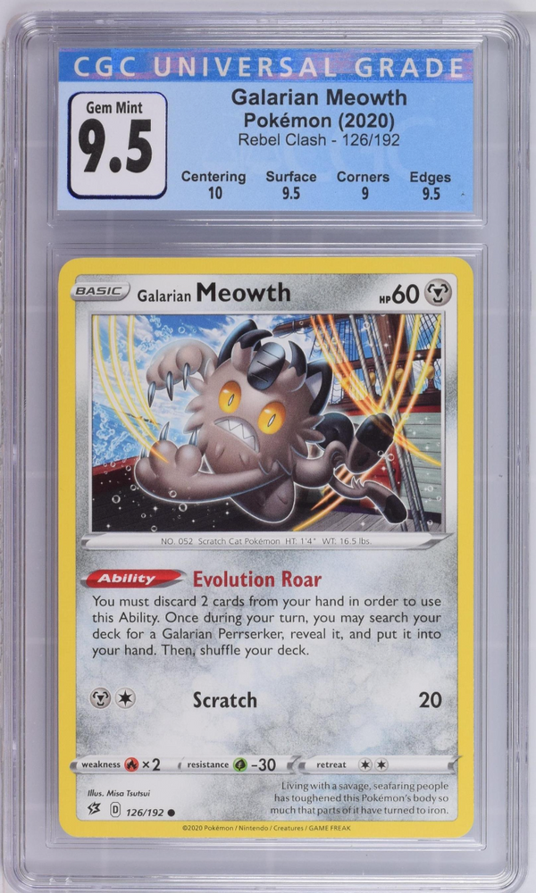 Pokémon Galarian Meowth #126 Sword & Shield Rebel Clash 2020 CGC 9.5 GEM MINT
