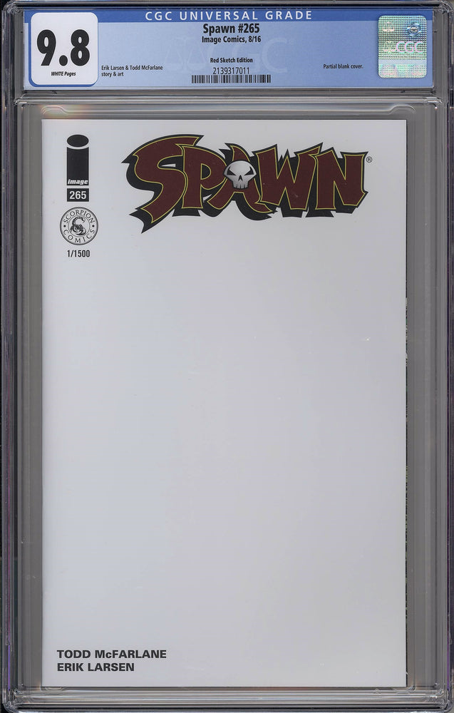 Load image into Gallery viewer, Spawn #265 CGC 9.8 Scorpion Comics RED Logo Blank Variant