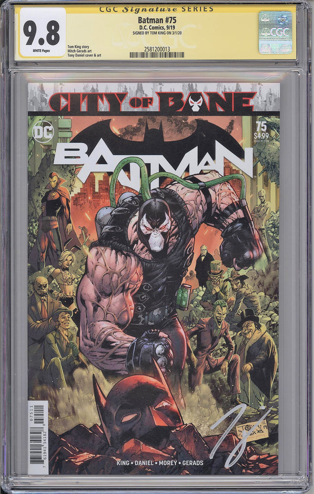 Batman #75 CGC SS 9.8 Tom King signed Cover A