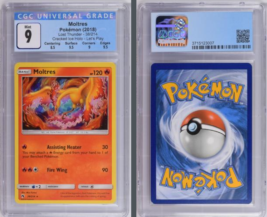 Load image into Gallery viewer, Pokémon Moltres Cracked Ice Holo #38 Lost Thunder 2018 CGC 9.0 GEM