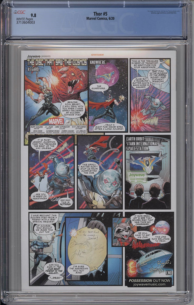 Thor #5 CGC 9.8 Cover A - First Full Appearance of Black Winter