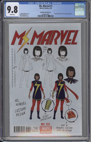 Ms. Marvel #1 CGC 9.8 Design Variant - First Kamala Khan Solo Series