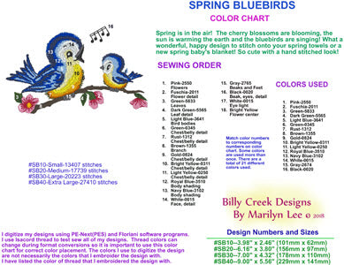 Spring Bluebirds embroidery chart