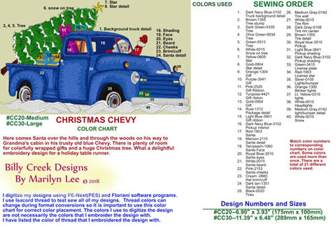 Christmas Chevy embroidery chart