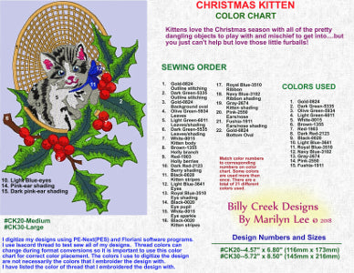 Christmas Kitten embroidery color chart