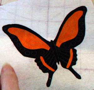 Butterfly ready for stitching