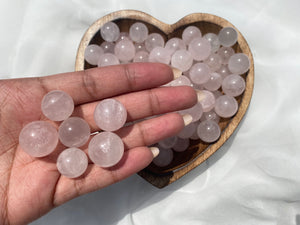 Mini Rose Quartz Spheres (Set of 3)