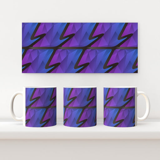 11oz Ceramic Mug - Abstract Waves Blue/Purple - printonitshop