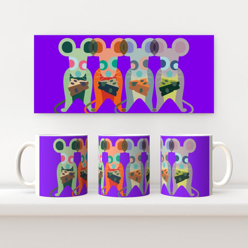 11oz Ceramic Mug - Mice on Purple - printonitshop