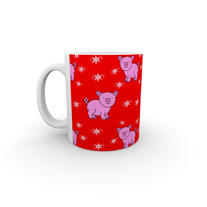 11oz Ceramic Mug - Pigs On Red - printonitshop