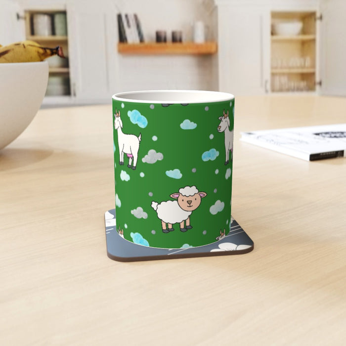 11oz Ceramic Mug - Goat and Sheep on Green - printonitshop