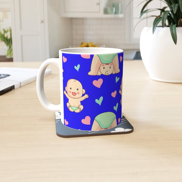 11oz Ceramic Mug - Baby on Blue - printonitshop