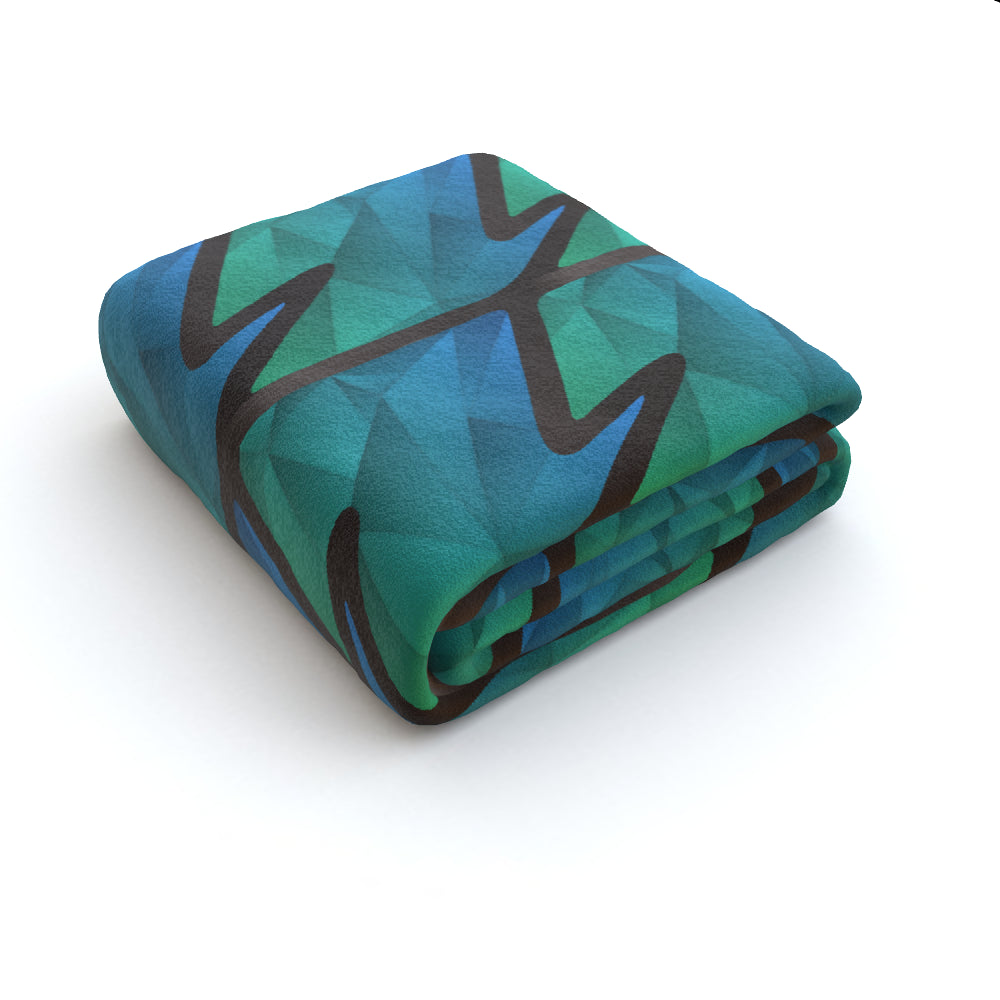 Blanket Throws - Abstract Waves Blue/Green, Linens & Bedding by Print On It