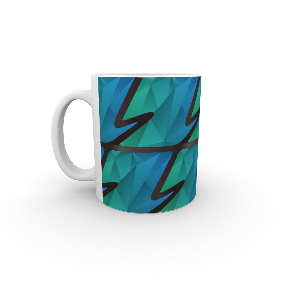 11oz Ceramic Mug - Abstract Waves Blue/Green by  Print On It