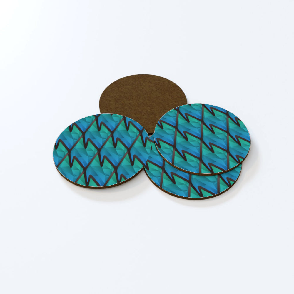 Coasters - Abstract Waves Blue/Green by  Print On It