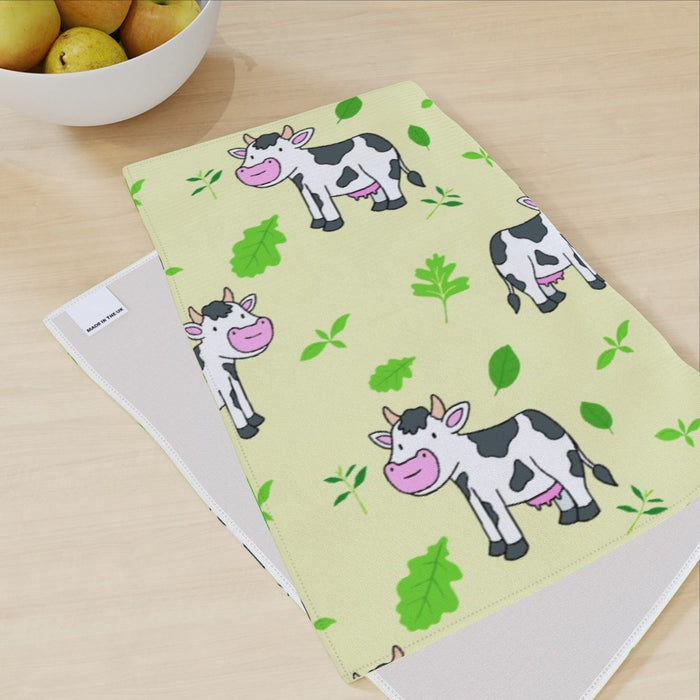 Tea Towel - Cows Light Yellow - printonitshop