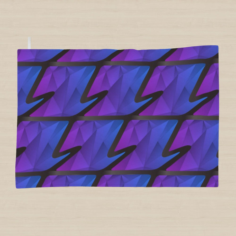 Tea Towel - Abstract Waves Blue/Purple, Linens & Bedding by Print On It