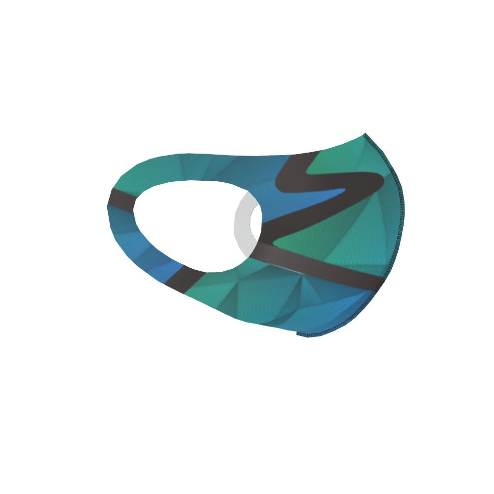 Ear Loop Mask - Abstract Waves Blue / Green by  Print On It