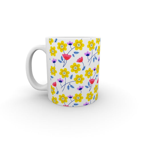 11oz Ceramic Mug - Yellow Flowers - printonitshop