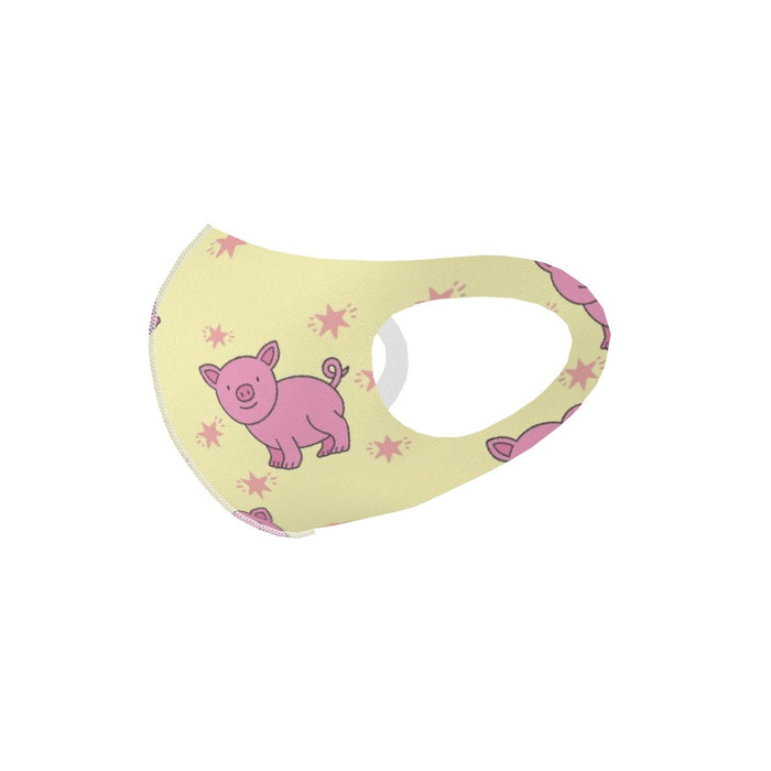 Ear Loop Mask - Pigs on Yellow - printonitshop